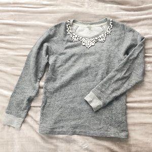J Crew Bib Necklace Grey Sweatshirt